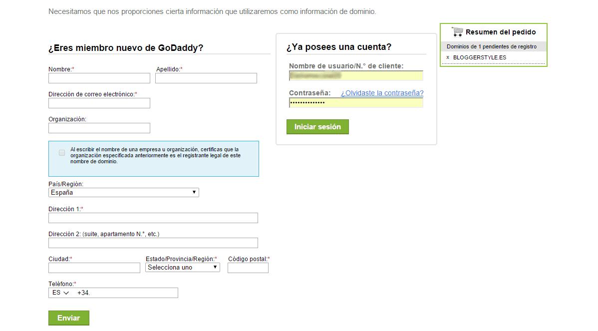 Crear una cuenta en GoDaddy