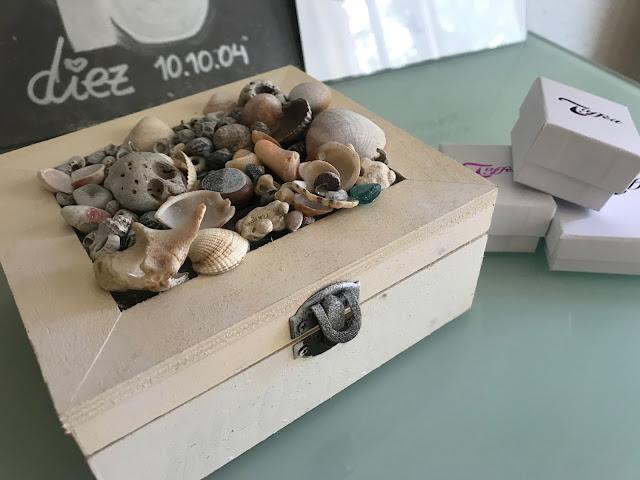 Joyero madera conchitas playa