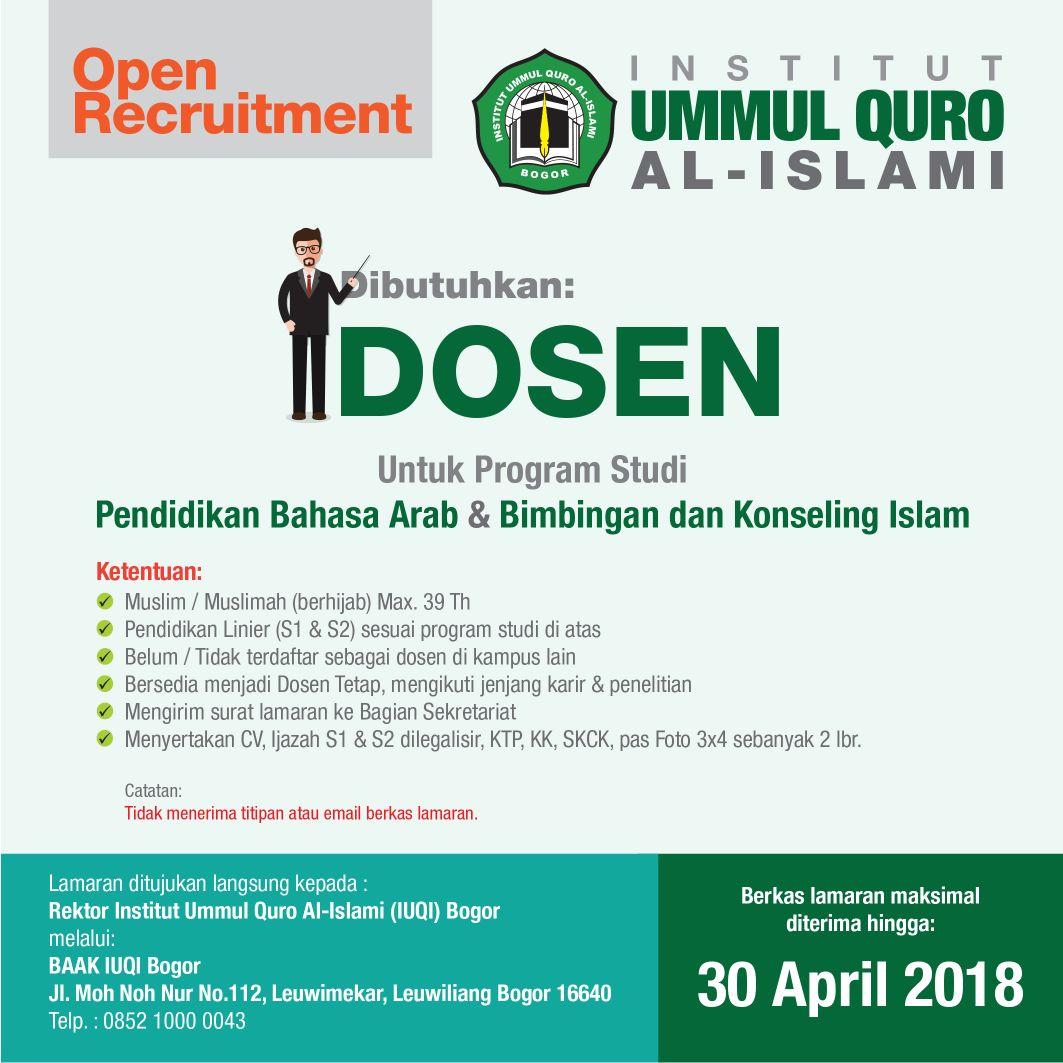 lowongan dosen institut ummul quro al islami bogor