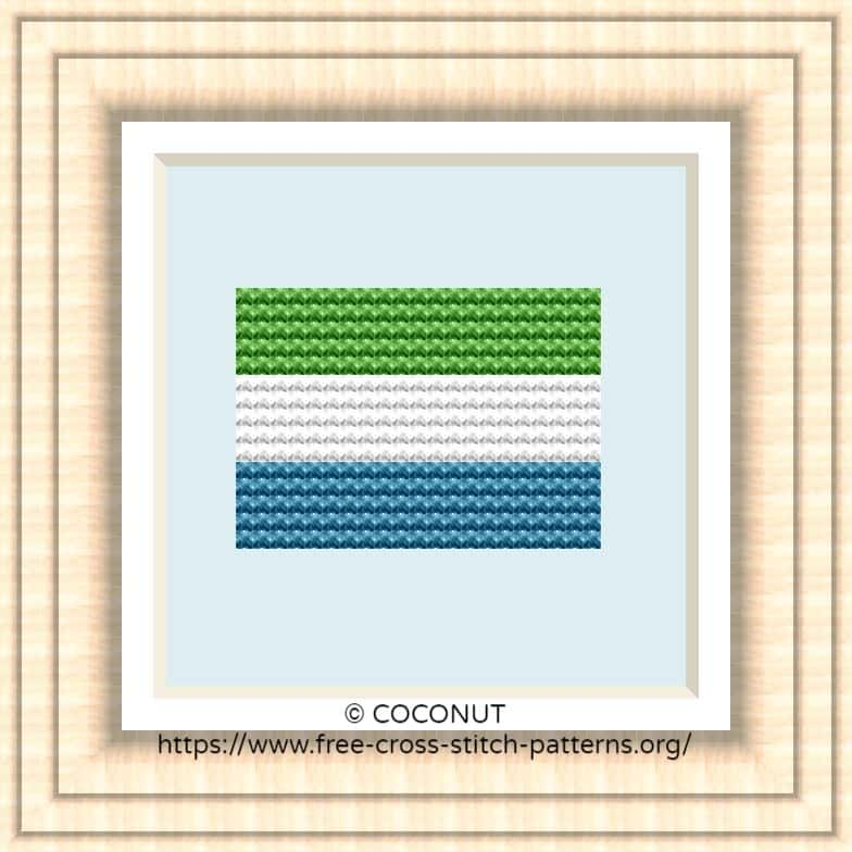 NATIONAL FLAG OF SIERRA LEONE CROSS STITCH CHART