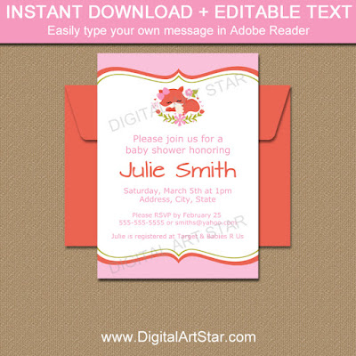 pink fox woodland baby shower invitation template for girl baby shower