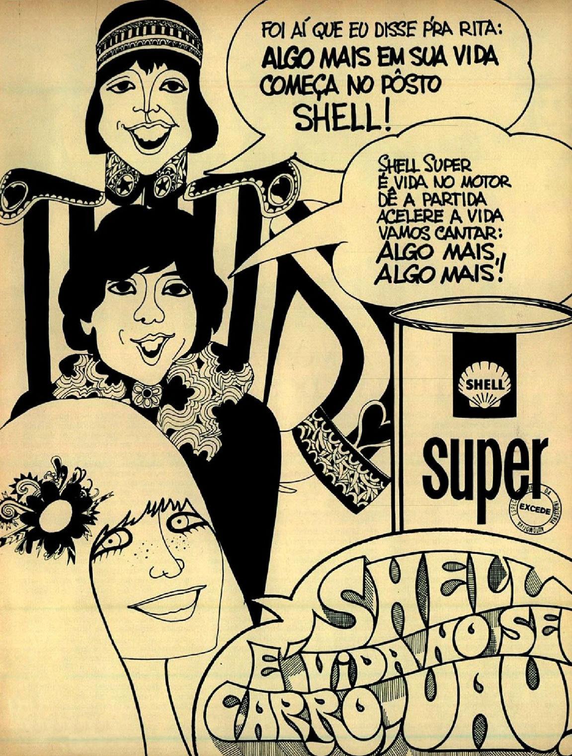 Propaganda antiga da Shell com Os Mutantes protagonizando a campanha