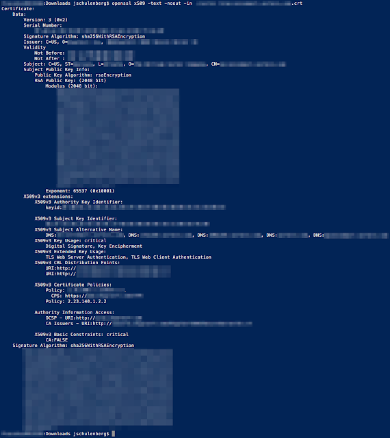 Terminal output showing a decoded certificate that is missing Key Usage and Extended Key Usage abilities compared to the CSR. Identifiable details have been redacted.