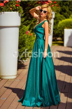 rochie de gala de lux lunga verde in clos fara maneci