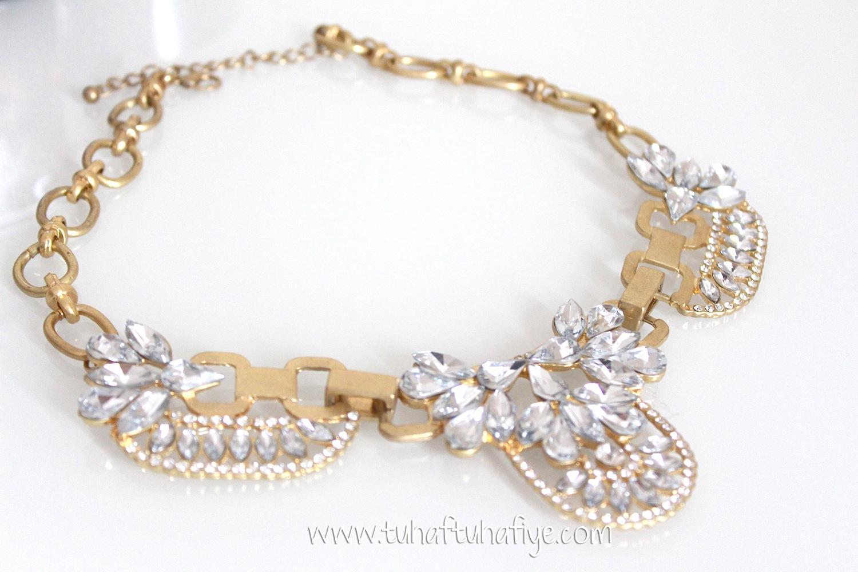 yapay elmas taşlı kolye, abiye takı, bijuteri, butik, tuhaf tuhafiye