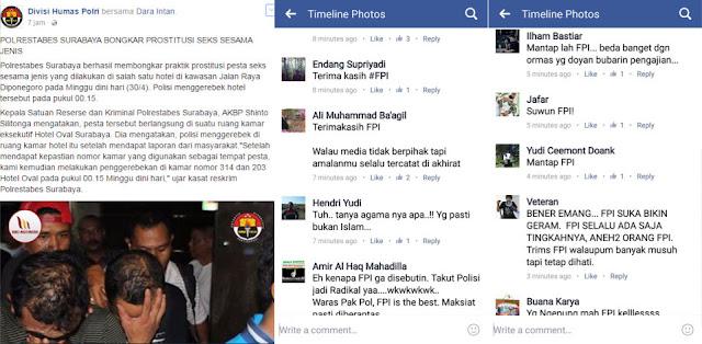 "Berita Polisi Gerebek Pesta Gay di Akun Facebook DivhumasPolri Dipenuhi Ucapan Netizen ""Terimakasih FPI"""