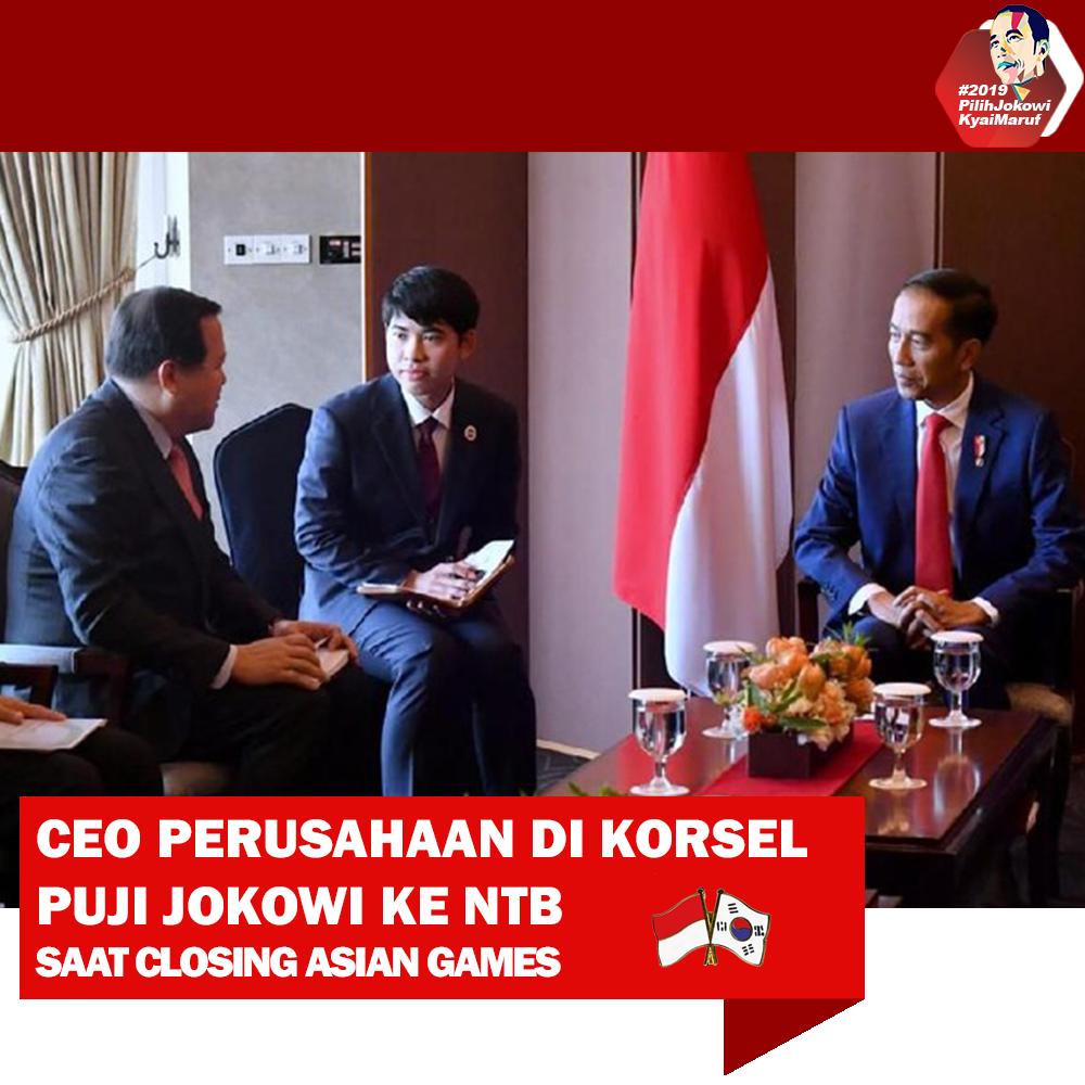 CEO Perusahaan Di Korea Selatan Puji Jokowi Ke NTB Saat Closing Asian Games