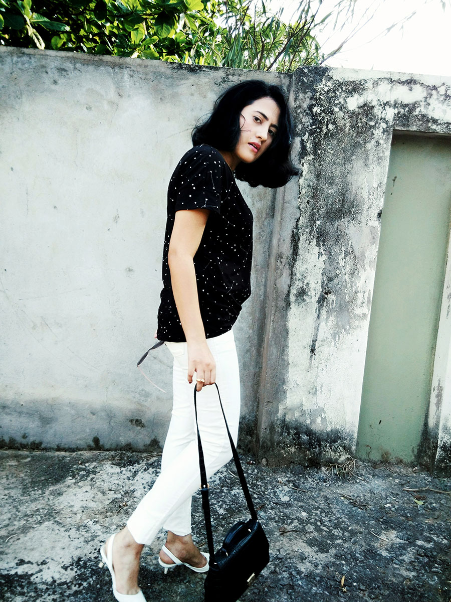 Mango T-Shirt,Levi'swomens White Denim, Zara Black Mini Bag,Zara White Slingback heels,Indianfashionblogger