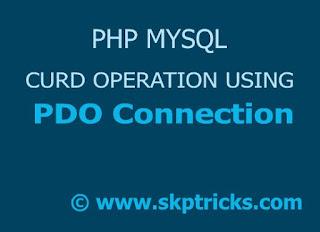 PHP MySQL connection using PDO skptricks