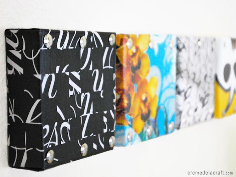 caja de zapatos reciclada transformada en un lienzo