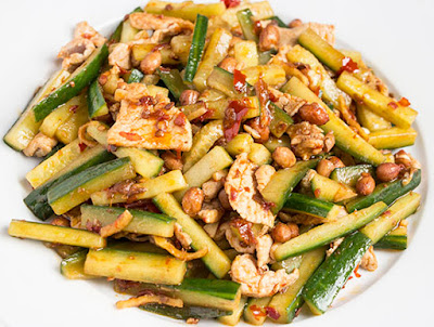 Chinese food - Cucumber and pork fried with soy bean paste