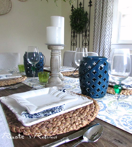 table decor in blue and white for a beautiful tablescape