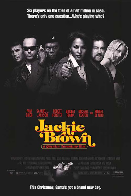 Jackie Brown, Movie Poster, Pam Grier, Robert Forster, Robert De Niro, Samuel L. Jackson, Bridget Fonda and Michael Keaton, Directed by Quentin Tarantino
