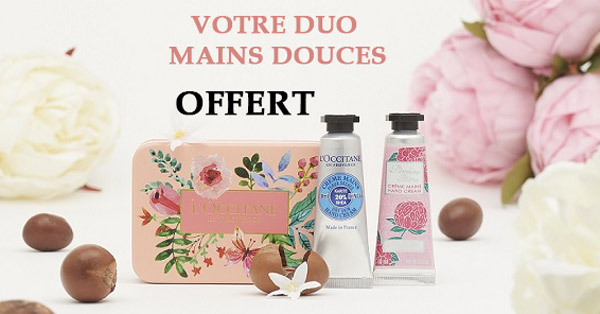 Duo Mains Douces Gratuit Offert par L'Occitane en Provence