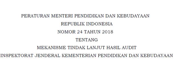Permendikbud Nomor 24 Tahun 2018 Tentang Mekanisme Tindak Lanjut Hasil Audit Inspektorat Jenderal Kemdikbud