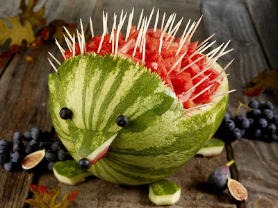 hedgehog watermelon fruit carving arts