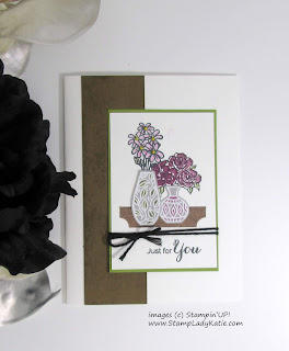Card made with the Faux Wood Grain technique and featuring Stampin'UP!'s Vibrant Vases stamp set