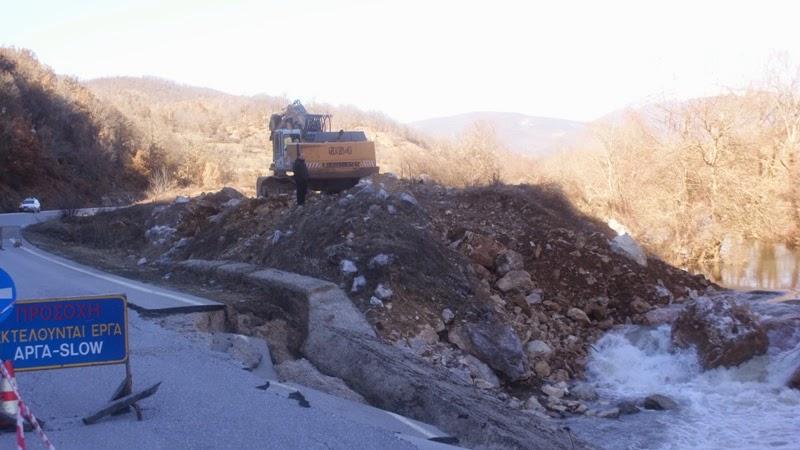 Ξεκίνησαν οι εργασίες αποκατάστασης του εθνικού οδικού δικτύου στην περιοχή Χάνι-Μπιρίκι.