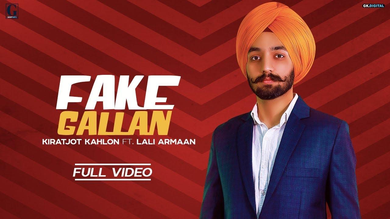 Fake Gallan Song Lyrics by Kiratjot Kahlon   Latest Punjabi Song 2019