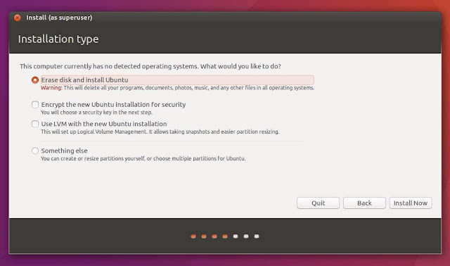 Select Erase disk and install Ubuntu.