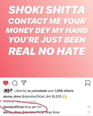 Davido Gives 1 Million to Fan