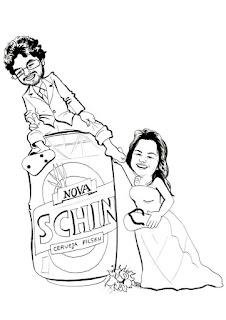 caricatura de noivos cerveja