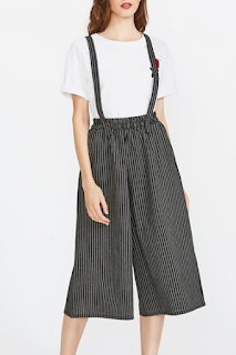 Pantalons jambe large à rayures avec bretelle - SHEIN