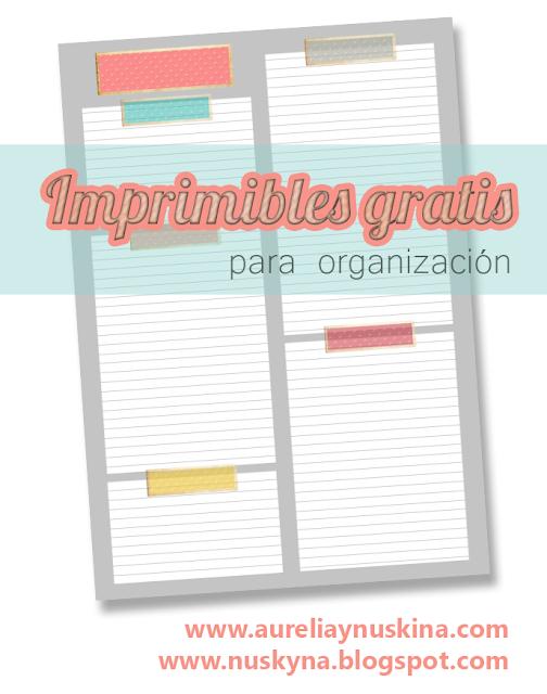 Imprimibles gratis para organización. Descarga plantilla para planning