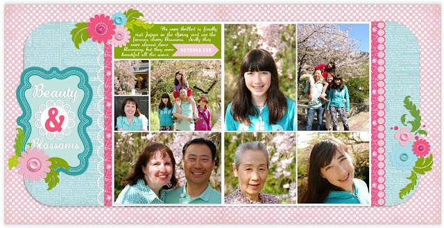 Carina Gardner Garden Rose Spring Digital Scrapbook Layout by Mendi Yoshikawa