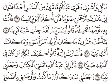 Tafsir Surat Maryam Ayat 26, 27, 28, 29, 30