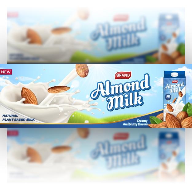 Milk advertising Banner, Poster, Billoard free vector