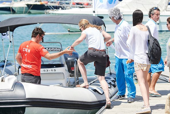 Infanta Elena of Spain and her daugther Victoria Federica Marichalar Borbon attended the training day of 37th Copa del Rey Mapfre Sailing Cup