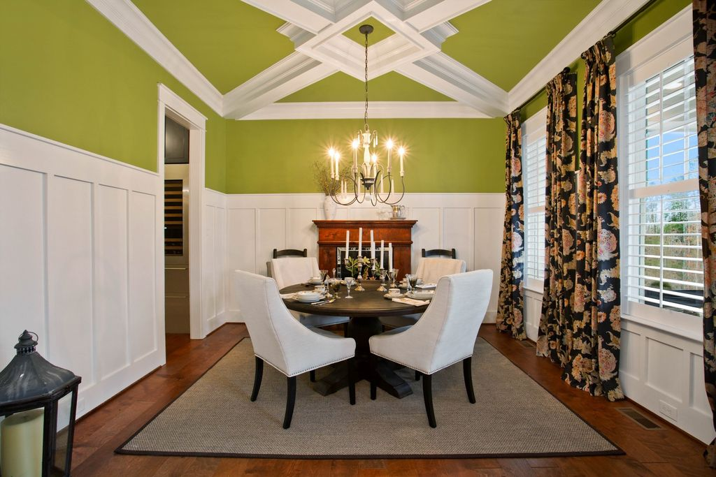 Fun colors and detailed moldings in this