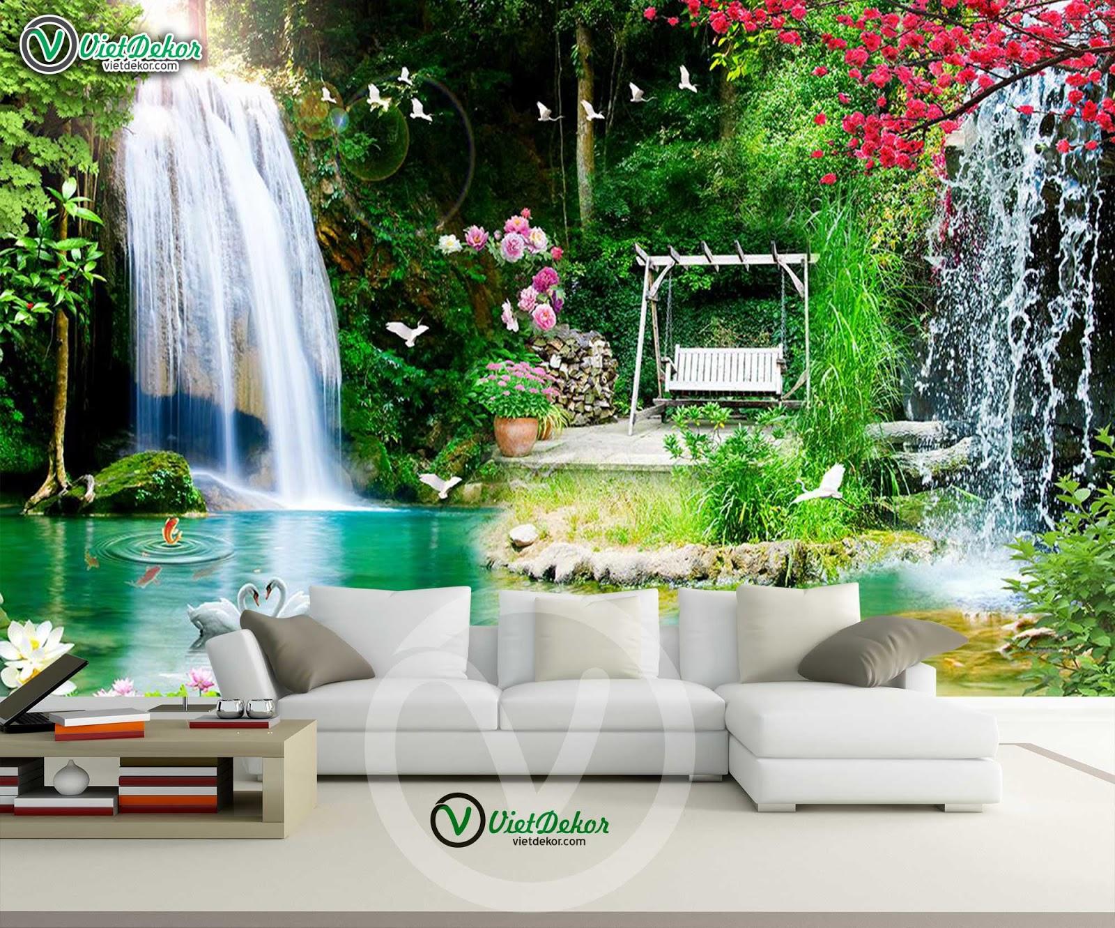 Tranh dán tường phong cảnh thác nước cho phòng khách đẹp
