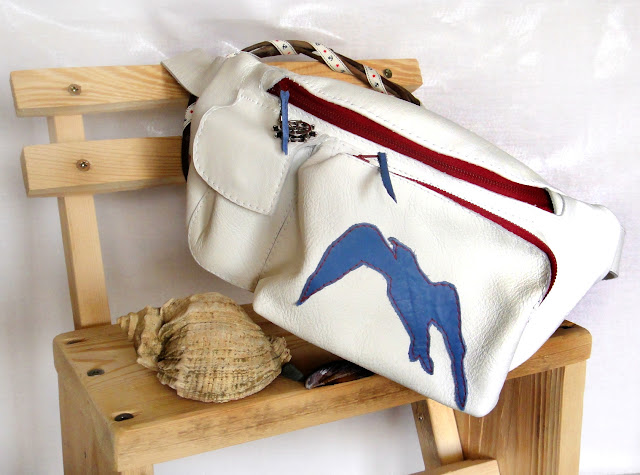 Поясная сумка в морском стиле, белая натуральная кожа - сумка для прогулок, подарок девушке