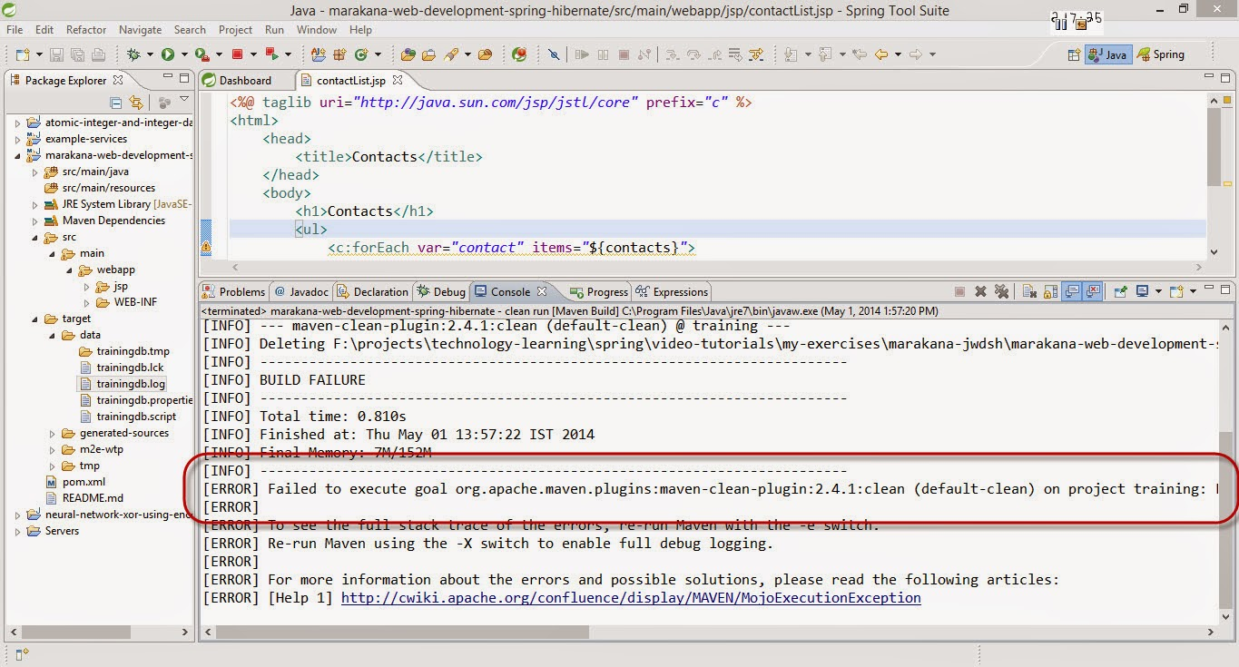 Eclipse maven jetty project Error - Failed to execute goal