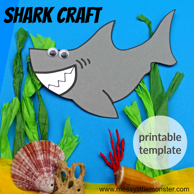 An easy shark craft for kids. Use the free printable shark template to make this ocean themed activity suitable for toddlers and preschoolers upwards.