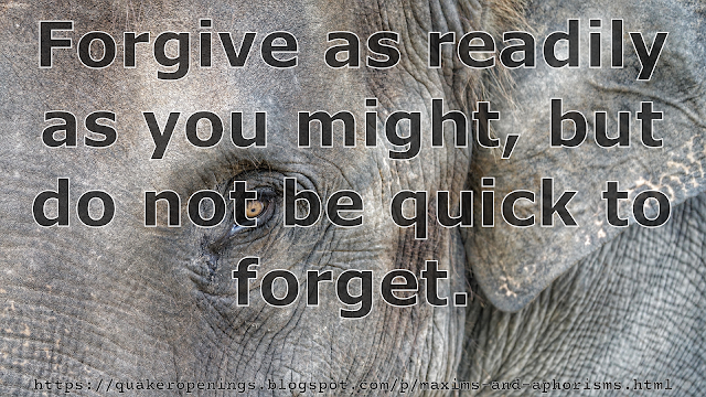 "Close-up of the upper left quadrant of an elephant's face. Overlaid text reads ""Forgive as readily as you might, but do not be quick to forget."""