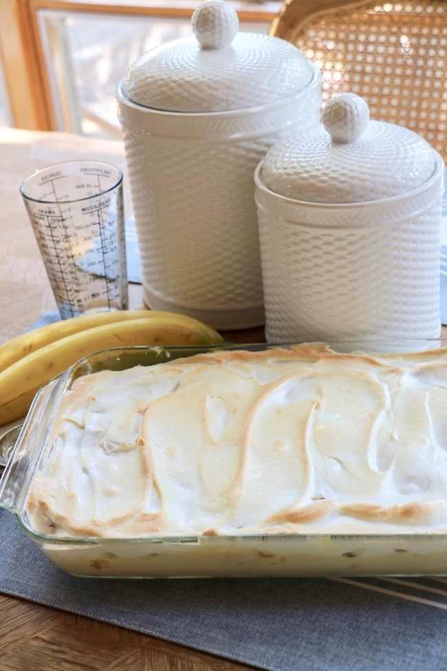 made from scratch banana pudding recipe includes meringue topping