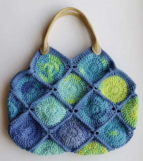 Crochet Handbag, crochet squares