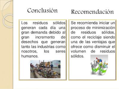 Conclusión y recomendaciones residuos solidos