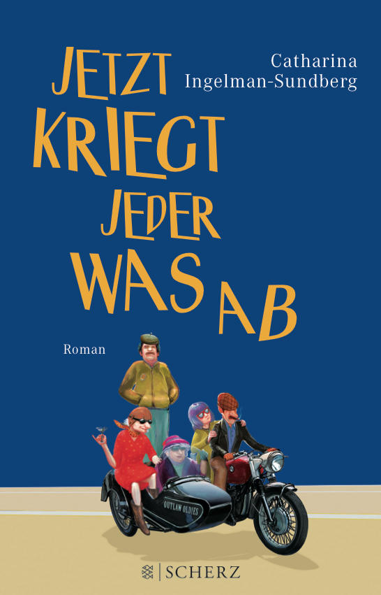 Book cover for Catharina Ingelman-Sundberg with five older people, senior citizen occupying an motorcycle with wagon