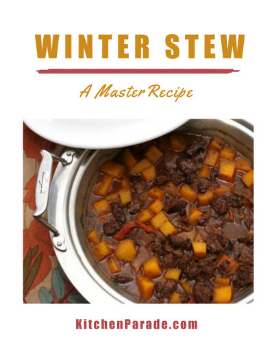 Winter Stew ♥ KitchenParade.com, a master recipe for a wintry meat and vegetable stew, a concept recipe that's been much-tested with many combinations of meats and vegetables, liquids and more. Shown here, elk meat, butternut squash, sherry and dried apricots.