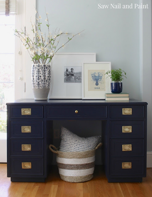 navy blue desk, navy blue furniture makeovers, navy blue furniture ideas, desk ideas