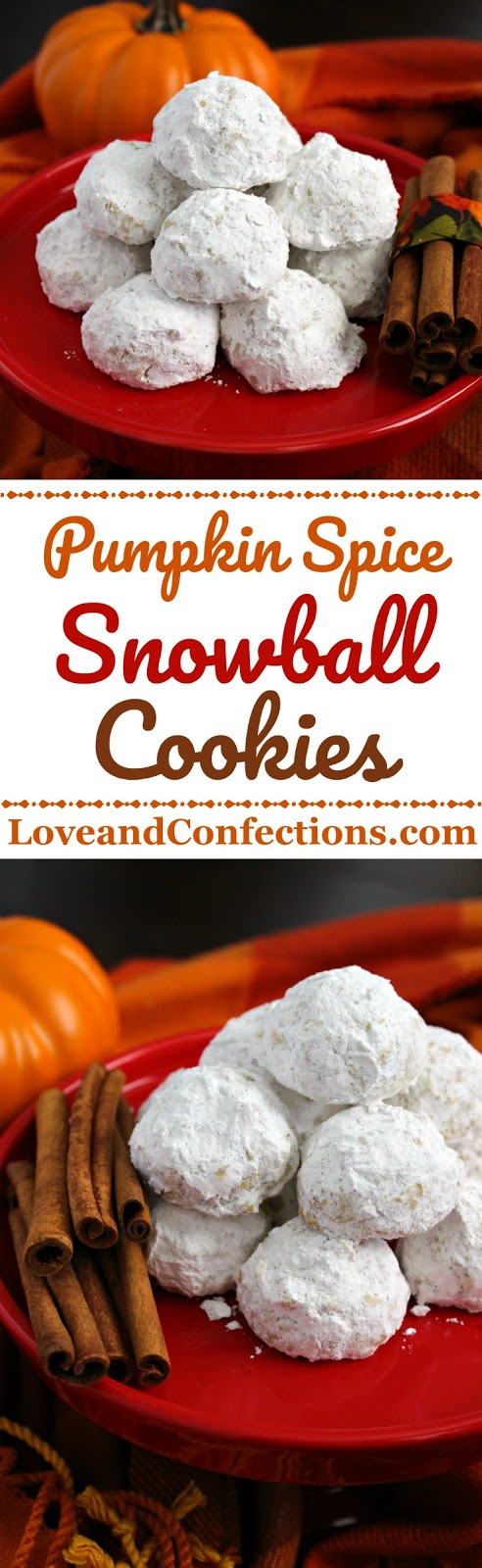 Pumpkin Pie Spice Snowball Cookies from LoveandConfections.com #PumpkinWeek