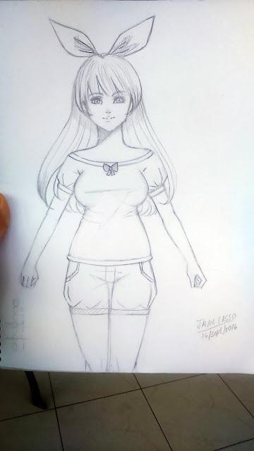 Dibujo de chica a lápiz