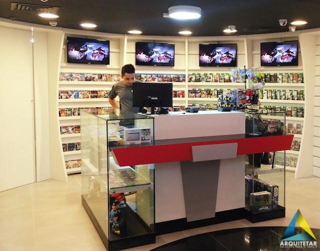 projeto arquitetura loja balcão caixa games brinquedos colecionáveis