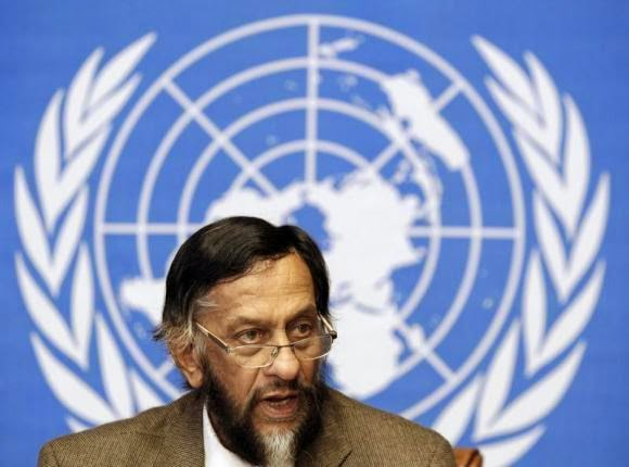 Rajendra Pachauri, Chair of the Intergovernmental Panel on Climate Change (IPCC), briefs the media on the Task Force on National Greenhouse Gas Inventories at the United Nations European headquarters in Geneva June 7, 2012. (Credit: www.reuters.com) Click to enlarge.