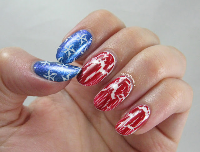 4th of July flag nails with crackle polish