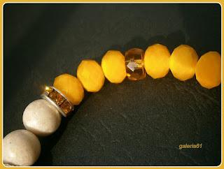 bransoletka na gumce, żółta, zawieszka